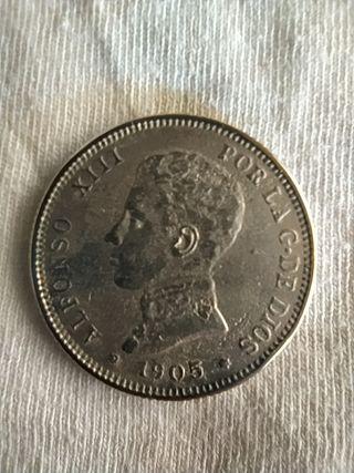 Moneda de 2 pesetas año 1905