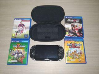 PSP Vita + Juegos + Funda