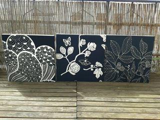 Cuadros hechos a manos de tela marco madera
