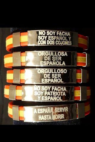 PULSERAS DE ESPAÑA 2x10€ CHAPA DE ACERO INOXIDABLE