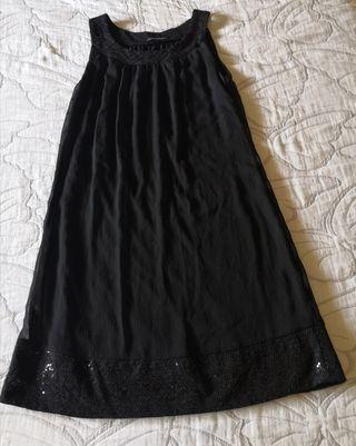 Vestido negro gasa noche