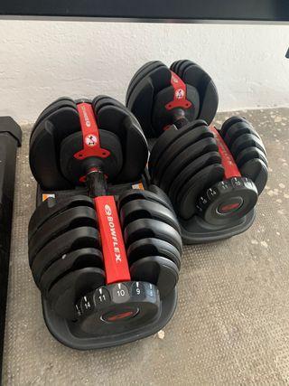 Mancuernas, pesas, banco musculacion y barra