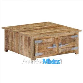 Mesa de centro 70x70x30 cm madera maciza de mango