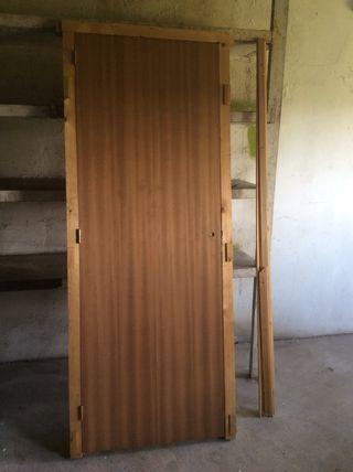 puerta madera maciza, con marco, para esternar