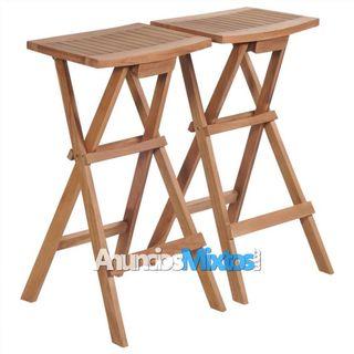 Taburetes plegables de cocina 2 unidades madera de