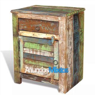 Mesita auxiliar con 1 cajón y 1 puerta madera reci