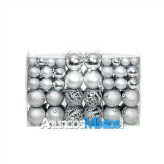 Lote de bolas de Navidad 100 unidades plateadas 6