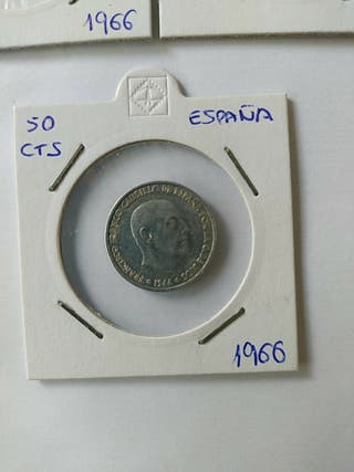 50 céntimos Moneda Franco 1966.