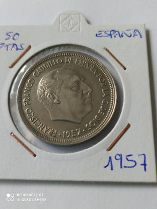 Moneda 50 pesetas Año 1957. Estrella 59