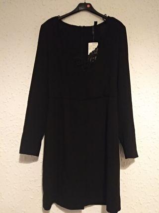 vestido negro talla S mango nuevo