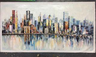New York cityskyliner cuadro/pintura al oleó