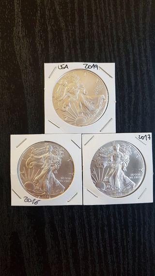 Lote 3 Onzas American Silver Eagle.Plata 999%.