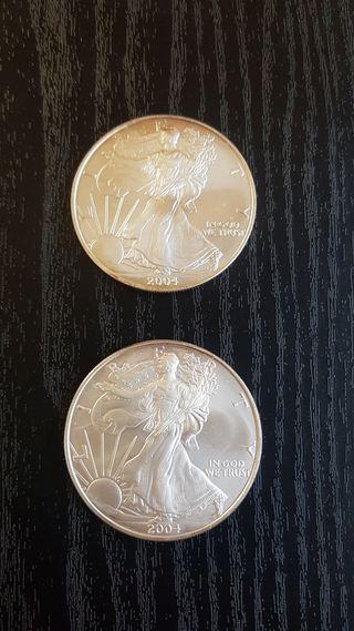 2 Onzas American Silver Eagle.Año 2004
