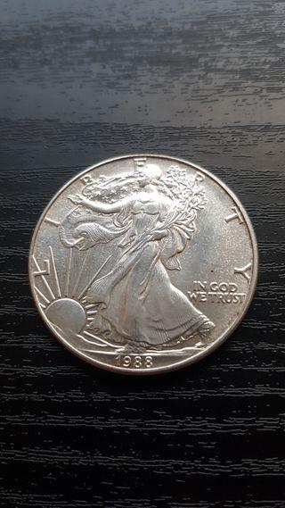 1 Onza American Silver Eagle 1988. Plata 999%.