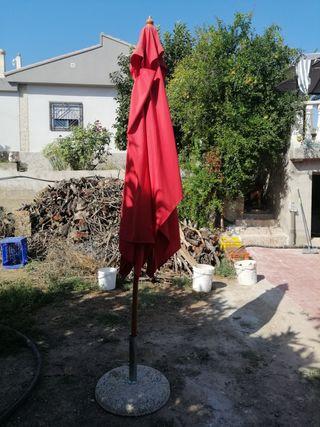 Sombrilla rectangular roja