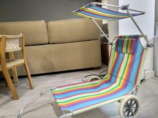 Tumbona de playa con ruedas