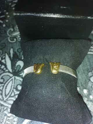 pulsera acero y oro