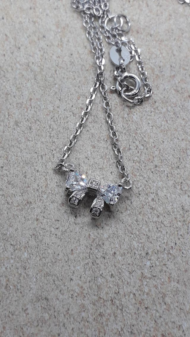 Charming Bow 0,6ct Cubic Zirconia Necklace 925