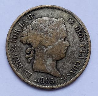Moneda. Isabel II. 40 Centimos de Escudo 1865