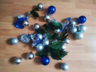 pack Navidad bolas plata y azul