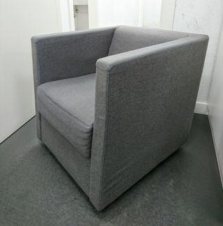 Butaca Sillón Silla tapizada en franela gris