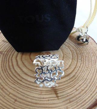 tous . anillo mil osos + bolsa . plata de ley