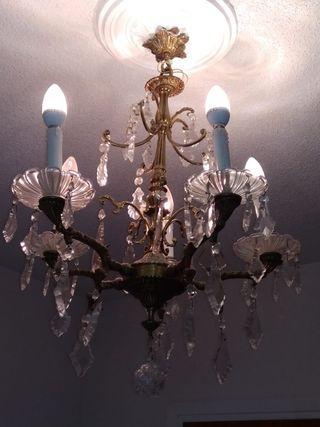 Lampara de techo de bronce y cristales