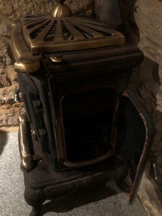 Estufa cocina salamandra hierro fundido bronces