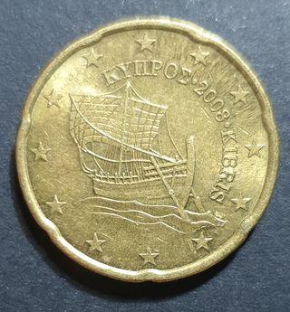 Monedas de 20 y 10 céntimos de euro Chipre 2008
