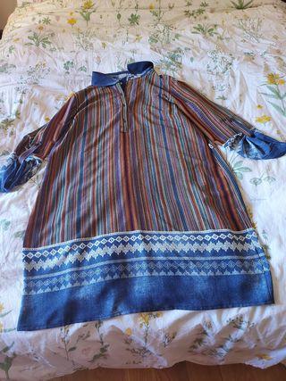 vestido largo de rayas con forro
