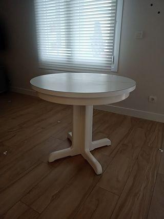 mesa blanca redonda 90 cm