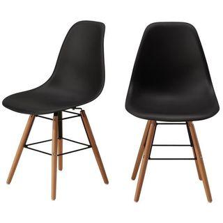 RENA Conjunto de 2 sillas de comedor negro satinad