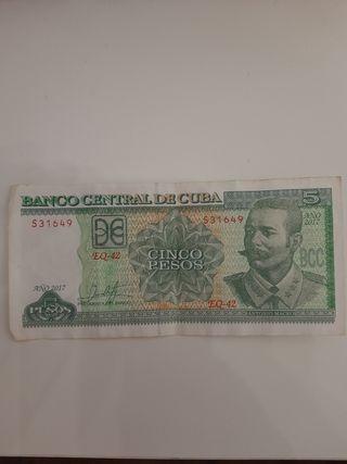 BILLETE DE 5 PESOS CUBANOS BANCO CENTRAL DE CUBA