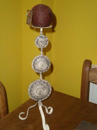 candelabro alto de madera y forja Zara home nuevo