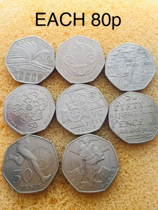 50p coin . Mix coins .