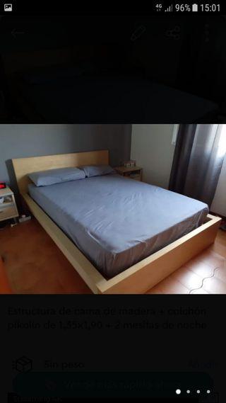 Dormitorio completo (cama, colchón + mesillas)