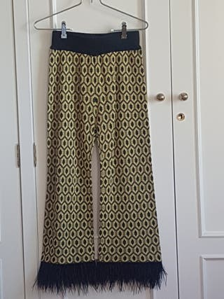 Pantalones jacquard plumas Zara