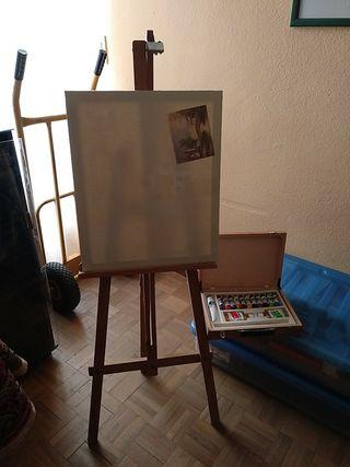 Caballete + lienzo + pinturas oleo