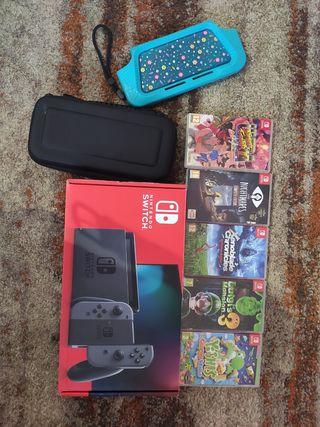 Nintendo Switch y 6 juegos
