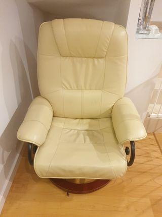 butaca masaje vibración y calor cuero beige