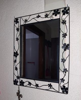 Espejo de hierro forjado Negro