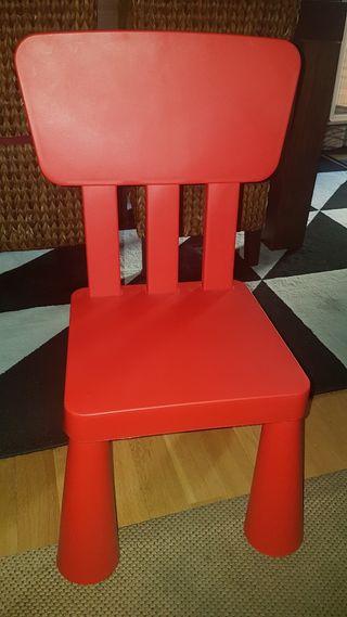 silla ikea niños roja