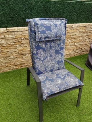 2 cojines de exterior para sillas jardín con funda