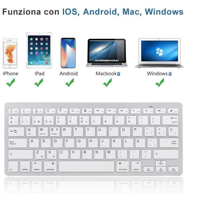 Teclado Bluetooth inalámbrico blanco