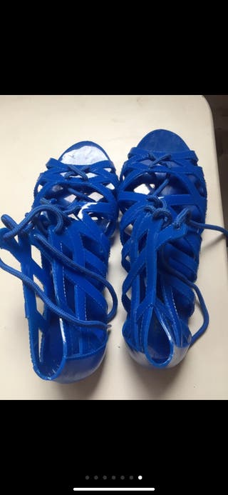 Cangrejeras azules/ Zapatos mujer agua T39