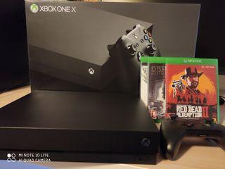 Xbox one X con tres Juegos. consola impecable.