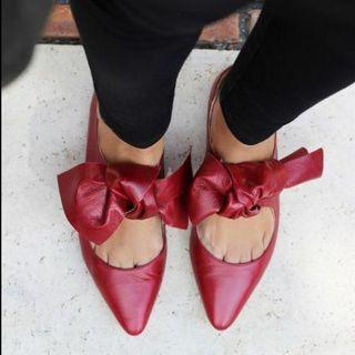Bailarinas rojas lazo piel Zara
