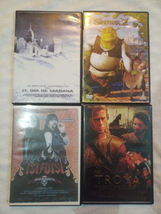 4 Peliculas DVD - Shrek 2, Troya, Isi Disi, Mañana