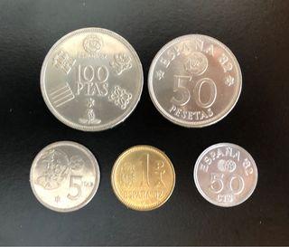 Lote 5 monedas Mundial Fútbol 1982