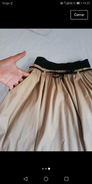 Falda midi beige Zara